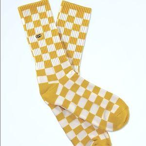 VANS Checkerboard II Sulphur & White Crew Socks